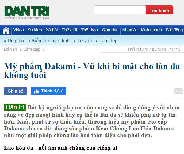 báo dân trí đăng tin về dakami